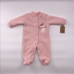Chick Pea: Quilted Pink Snowman Footed Sleeper